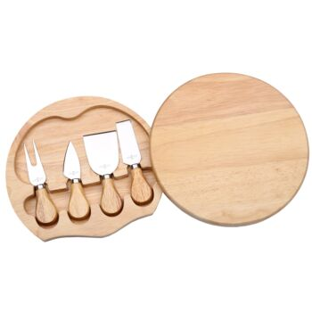 Sherwood Home 4 Piece Cheese Knife Set With Wooden Board - Natural Brown