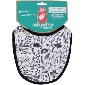 Organic Water Colour Flora  AOP and Solid Bibs 2 Pack