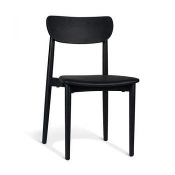 Nord Notodden Dining Chair - Black Frame - Black Cushion Seat