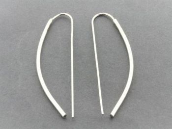 Bowed earring - sterling silver