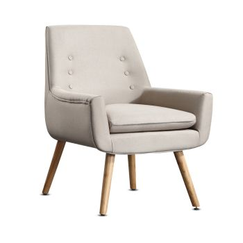 Levede Upholstered Fabric Wooden Chair in Beige