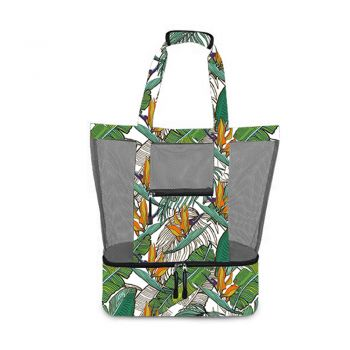 2 IN 1 BEACH AND COOLER BAG 60X40X15CM BANANA LEAF