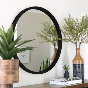 TINA 100cm Black Solid Wood Mirror