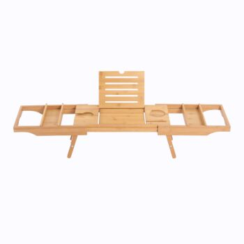 Sherwood Home Bamboo Bed and Bathtub Caddy Tray with Support Frame - Natural Bamboo - 75.5x25.5x6cm