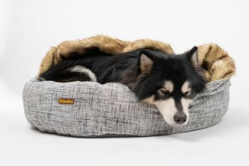 Charlie's Pet Round Bed with Faux Fur Cover Light Grey - Large