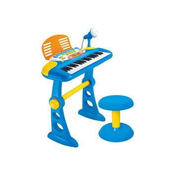 ELECTRONIC KEYBOARD WITH STAND & BLUE STOOL