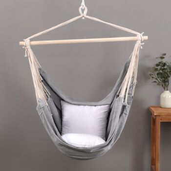 Sherwood Home Indoor and Outdoor Hammock Chair Swing - Grey - Large 125x185cm