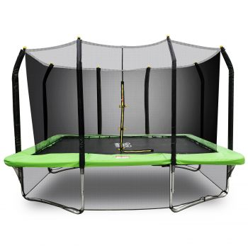 PoP Master 11FT x 8FT Rectangular Trampoline with Spring Ladder Safety Net