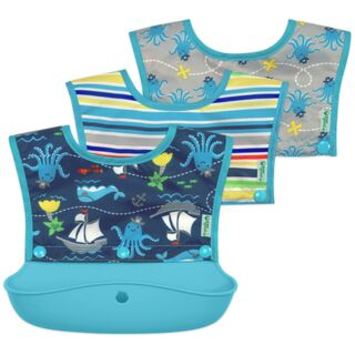 Snap & Go™ Silicone Food-catcher Bib 6-18 mo - Aqua Pirate