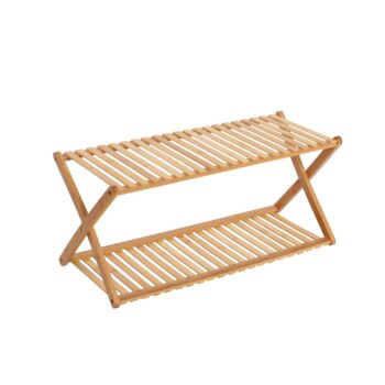 Sherwood Home 2-Tier Portable Natural Bamboo Shoe Rack - Light Brown - 70x27.5x32cm