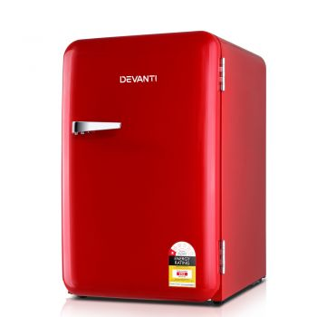 Devanti Retro Bar Fridge 70L Builtin Lamp Beverage Cooler Refrigerators