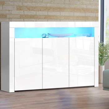 Buffet Sideboard Cabinet Storage LED High Gloss Cupboard 3 Doors White
