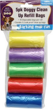 Dog Clean Up Refill Bags 5 Rolls x 15pcs