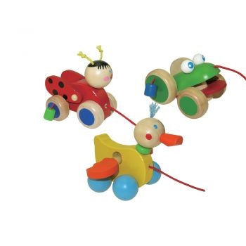 Bug,Duck,Frog Pullalong-3p/set