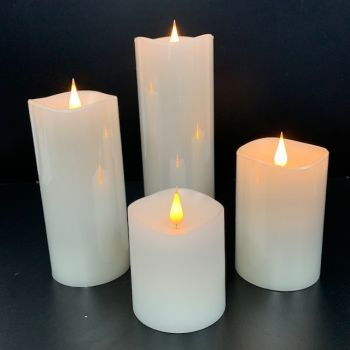 4-Piece White 3D Flickering Flame LED Candle Set