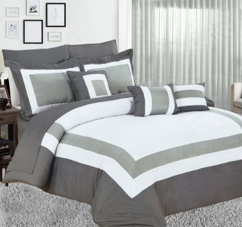 King Bed 10PC Comforter with Sheet Set in Charcoal