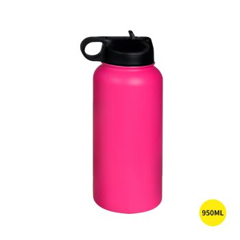Stainless Steel Insulated Thermos Water Bottle Straw in Pink