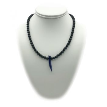 Men's Shell Pearl & Frosted Black Stone Becklace Necklace