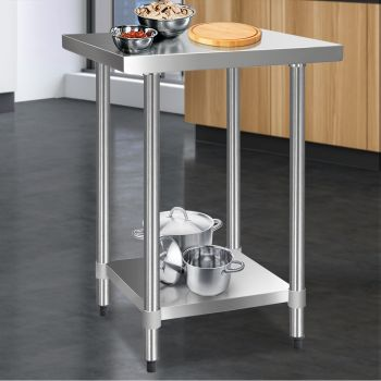 Cefito 610x610mm Stainless Steel Kitchen Benches Work Bench Food Prep Table 430 Food Grade Stainless Steel