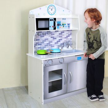 WHITE WOODEN KIDS KITCHEN