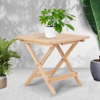 Wooden Coffee Table 2pc Camping Tables Folding Bedside Picnic Patio Outdoor Furniture