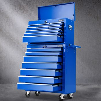 Tool Box Chest Trolley Toolbox Tool and Box Cabinet 16 Drawers Cart Garage Storage Blue Giantz