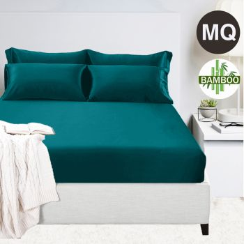 Mega Queen Bed 400TC Bamboo Cotton 1  Fitted Sheet with 2 Pillowcases in Teal