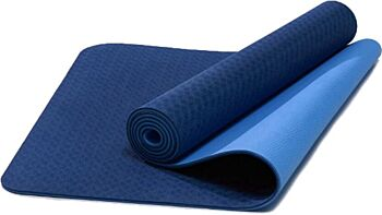 TPE Eco-Friendly Yoga Mat Dual Layer Non-Slip for Pilates Fitness & Exercise - Blue