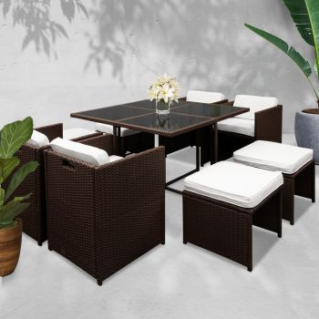 Outdoor Furniture Dining Set Patio Outdoor Setting Table Chairs Wicker Set Garden 9PCS Brown Gardeon
