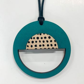 Circle Pendant in teal with black spots