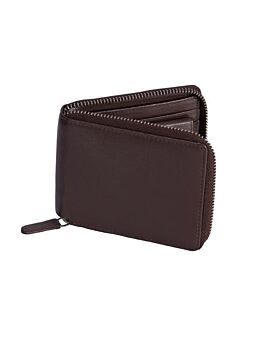 Smooth Leather Zip Round Wallet with RFID Blocking Protection