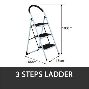 3 STEP LADDER MULTI PURPOSE FOR HOUSEHOLD OFFICE FOLDABLE NON SLIP