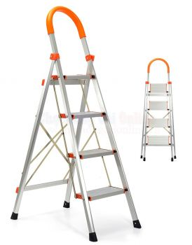 4 STEP LADDER ALUMINIUM MULTI PURPOSE FOR HOUSEHOLD OFFICE FOLDABLE NON SLIP