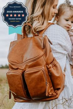 Faux Leather Nappy Backpack - Tan (PRE-ORDER)