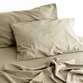 Queen Bed Linen Cotton Bed Sheets Sets in Natural