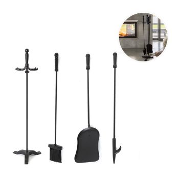 4 Peices Fireplace Poke Stick Brush Shovel Stand and Tongs Tool Set