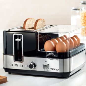 TODO 1400W Breakfast Master Toaster Egg Cooker Poacher Bacon Fryer Grill All In One
