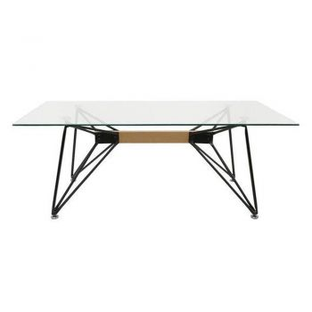 Japandi Web Coffee Table - Tempered Glass - 120cm - Black