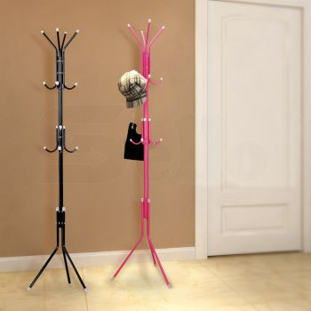 3 Tier Coat Hanger Stand Hat Clothes Rack Metal Tree Style Storage Red