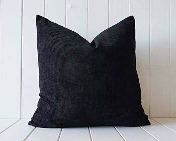 Indoor Cushion - Feather Insert - Black Corduroy - 50x50