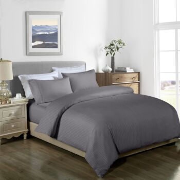 Royal Comfort Cooling Bamboo Blend Quilt Cover Set Striped 1000 Thread Count
