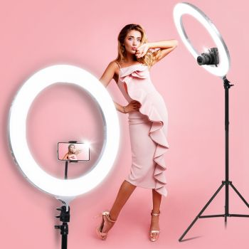 "Embellir 19"" LED Ring Light 6500K 5800LM Dimmable Diva Stand MakeUp Studio Video Silver"