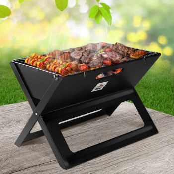 Grillz Portable BBQ Charcoal Grill Smoker Outdoor Folding Steel Camping Barbecue