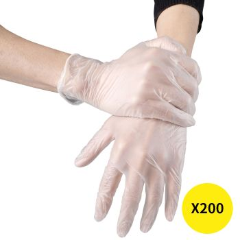 Disposable Gloves x200 Powder Latex Free Clear Vinyl PVC Protective Food L Large
