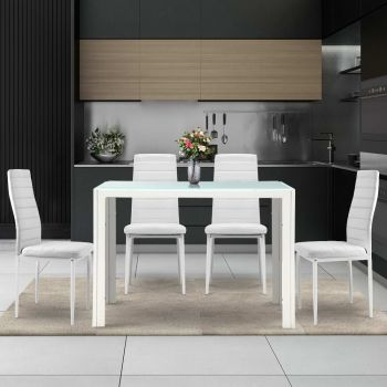 Dining Table and Chairs Set Glass Tables Leather Seater White Kitchen
