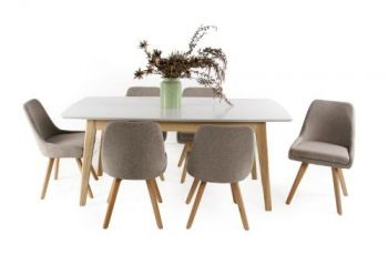 Alexandria 7PC Dining Set 6 Seater Rectangular Dining Table White With Oak Fabric Dining Chairs