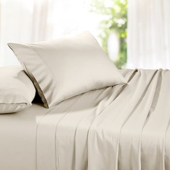 Single Bed 1500TC Organic Cotton Rich Bed Sheet Sets in Sand