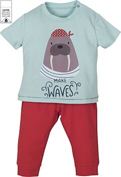Mamino- Baby- Boy- Waves- Red Trouser and Blue Printed Tee Shirt - Pajama -2 Pieces Set