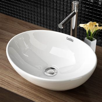 Cefito Bathroom Basin Vanity Sink Ceramic Above Counter Hand Wash Bowl Oval