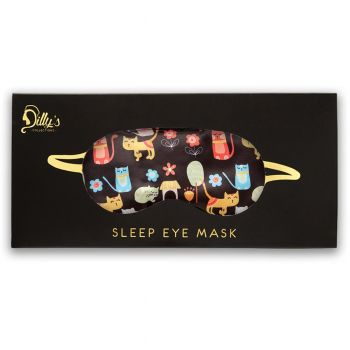 Cat Print Satin Eye Mask